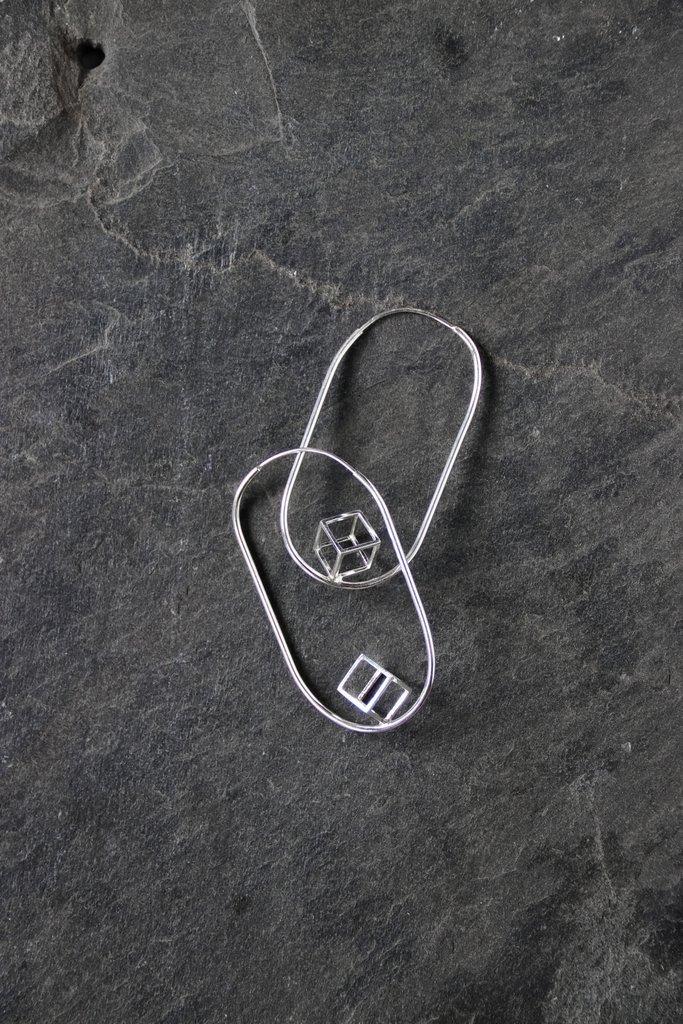 Cube Canary Silver Earrings