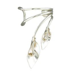 Sterling Silver Double Lily Ear Cuff