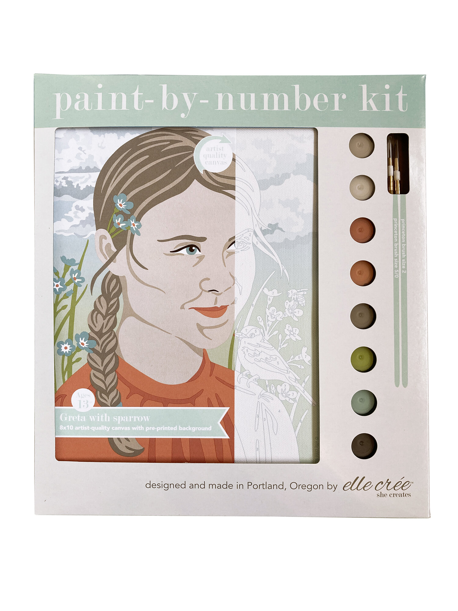 Greta with Sparrow Paint-By-Number Kit