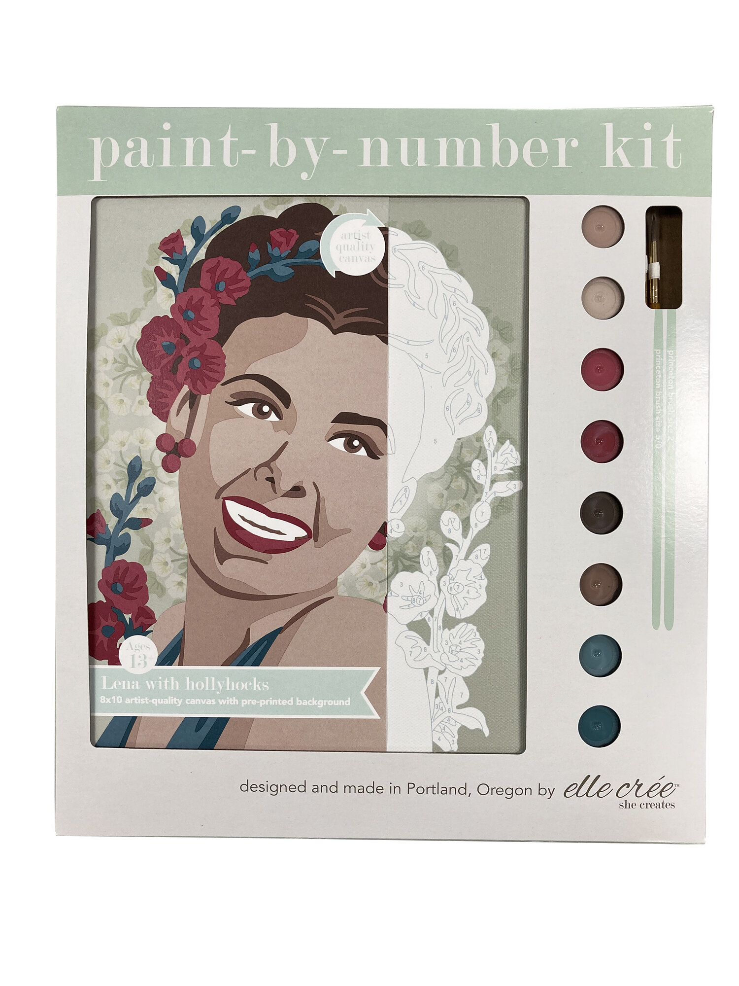 Lena with Hollyhocks Paint-By-Number Kit