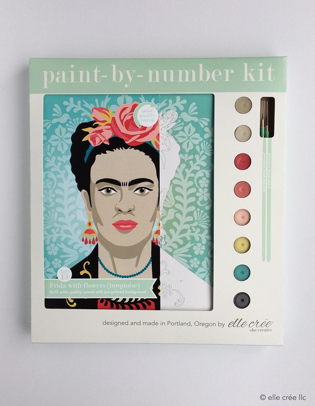 Turquoise Frida Kahlo Paint-By-Number Kit