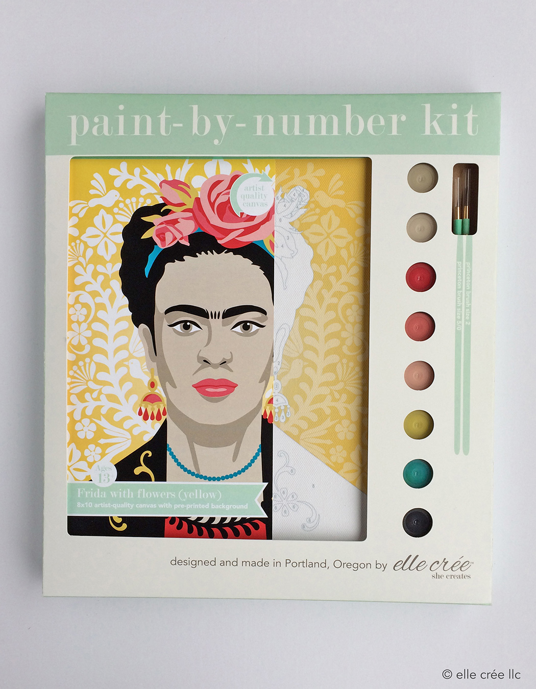 Yellow Frida Kahlo Paint-By-Number Kit