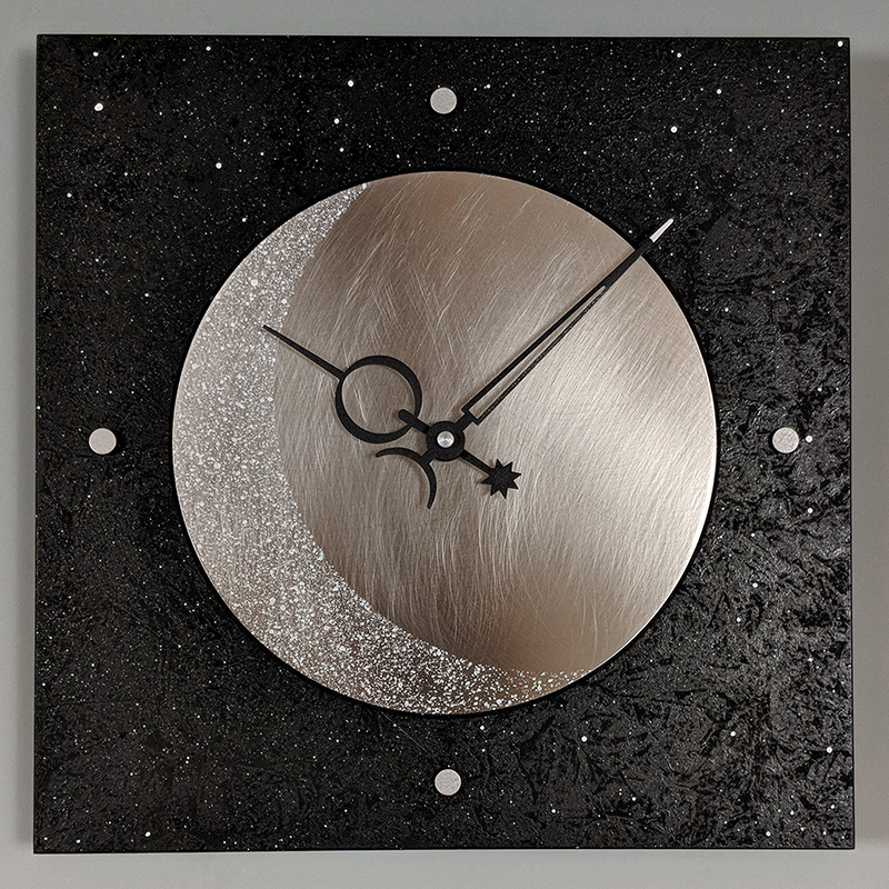 Eclipse Black & Steel Wall Clock