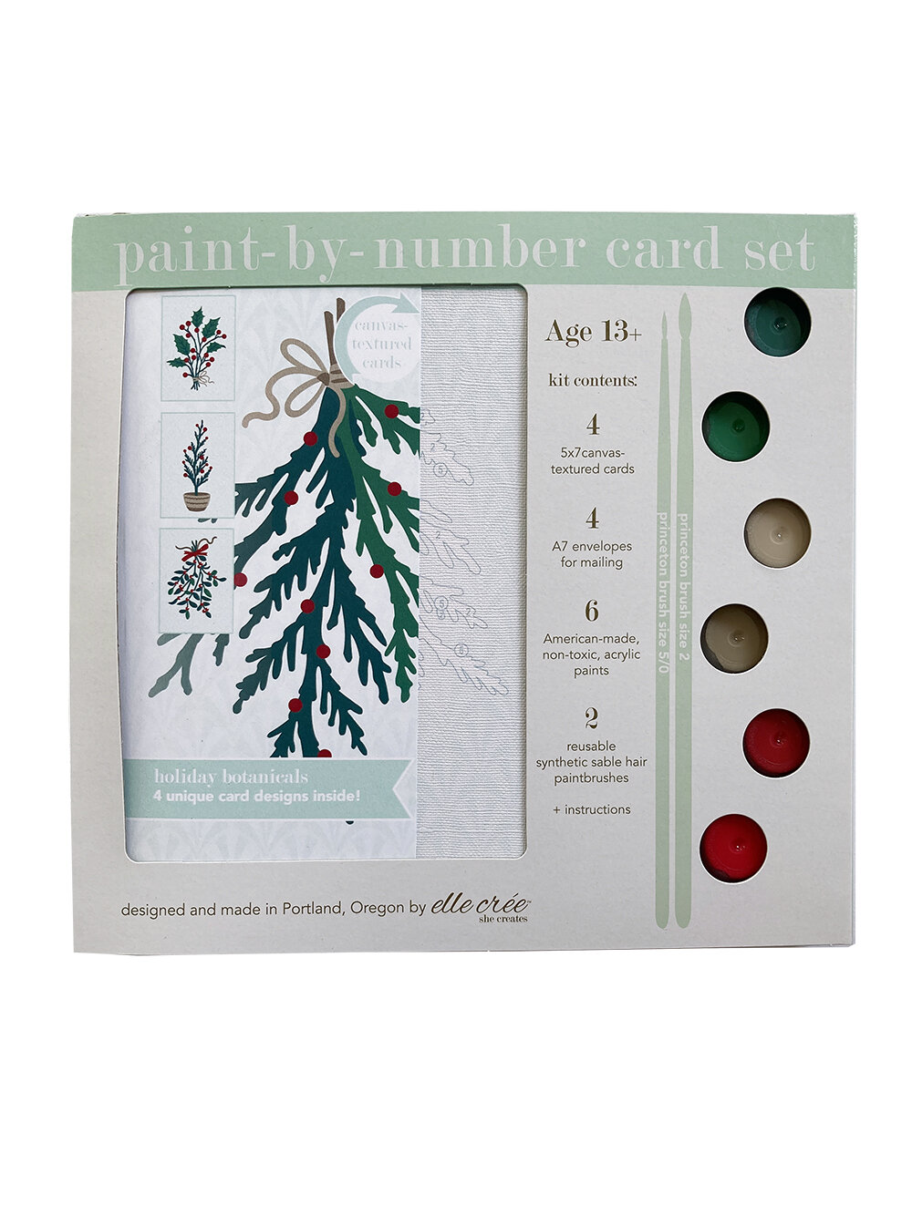 Holiday Botanicals Card Paint-by-Number Set
