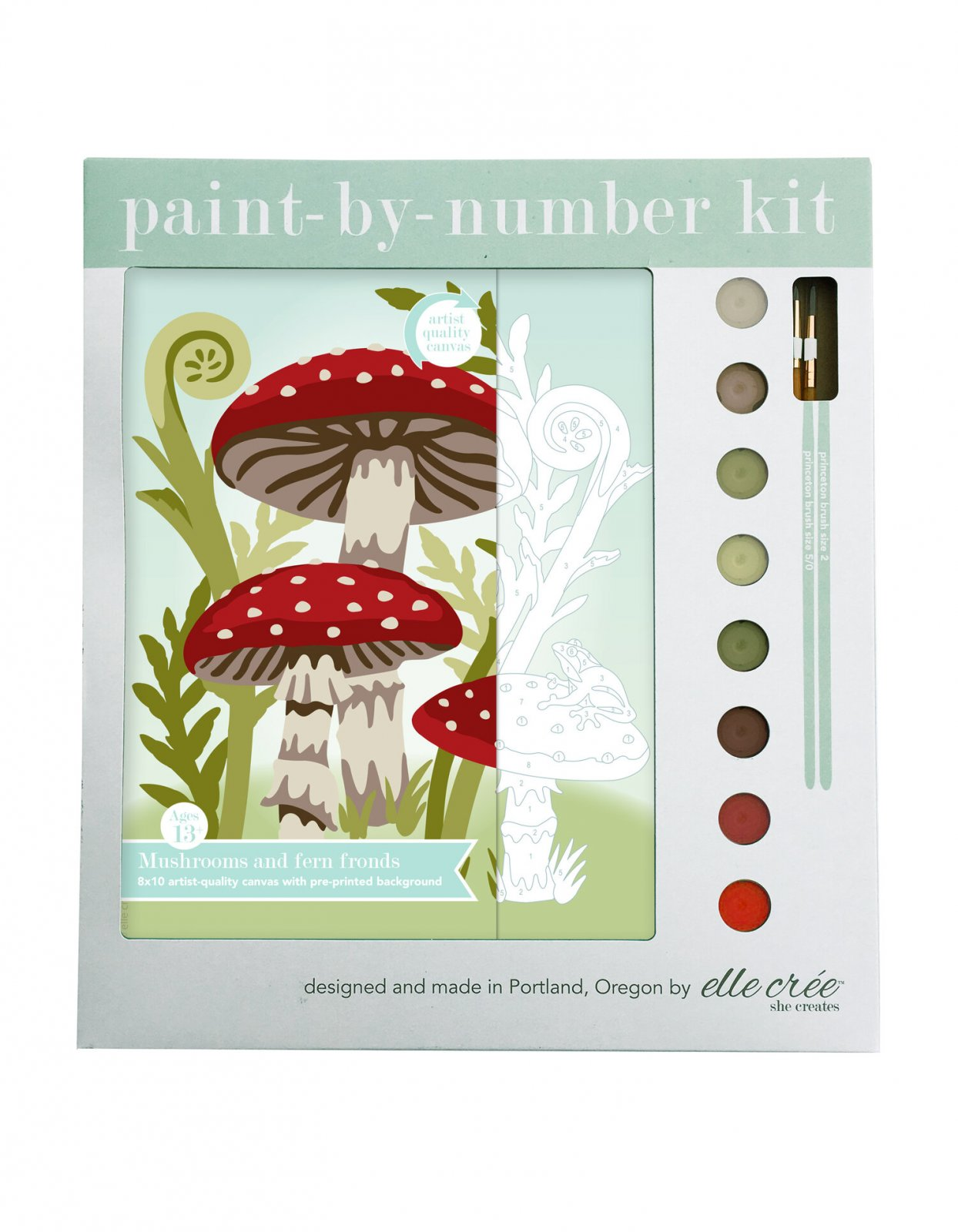 Mushrooms & Fern Paint-By-Number Kit