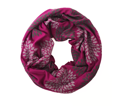 Gray/Fuschia Flowers Mini Infinity Scarf