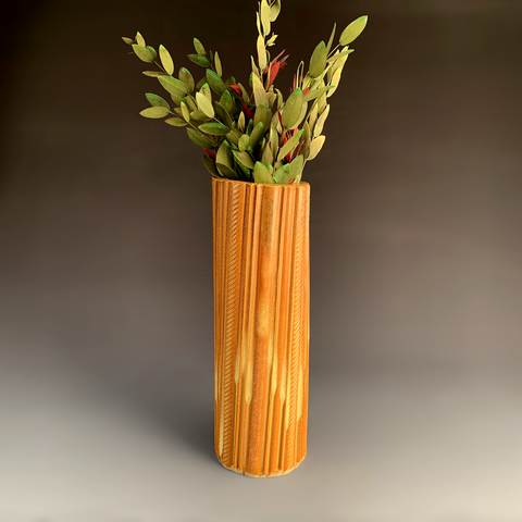 Faceted Stoneware Vase