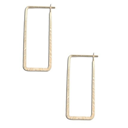 Gold-Filled Hammered Rectangle Hoop Earrings