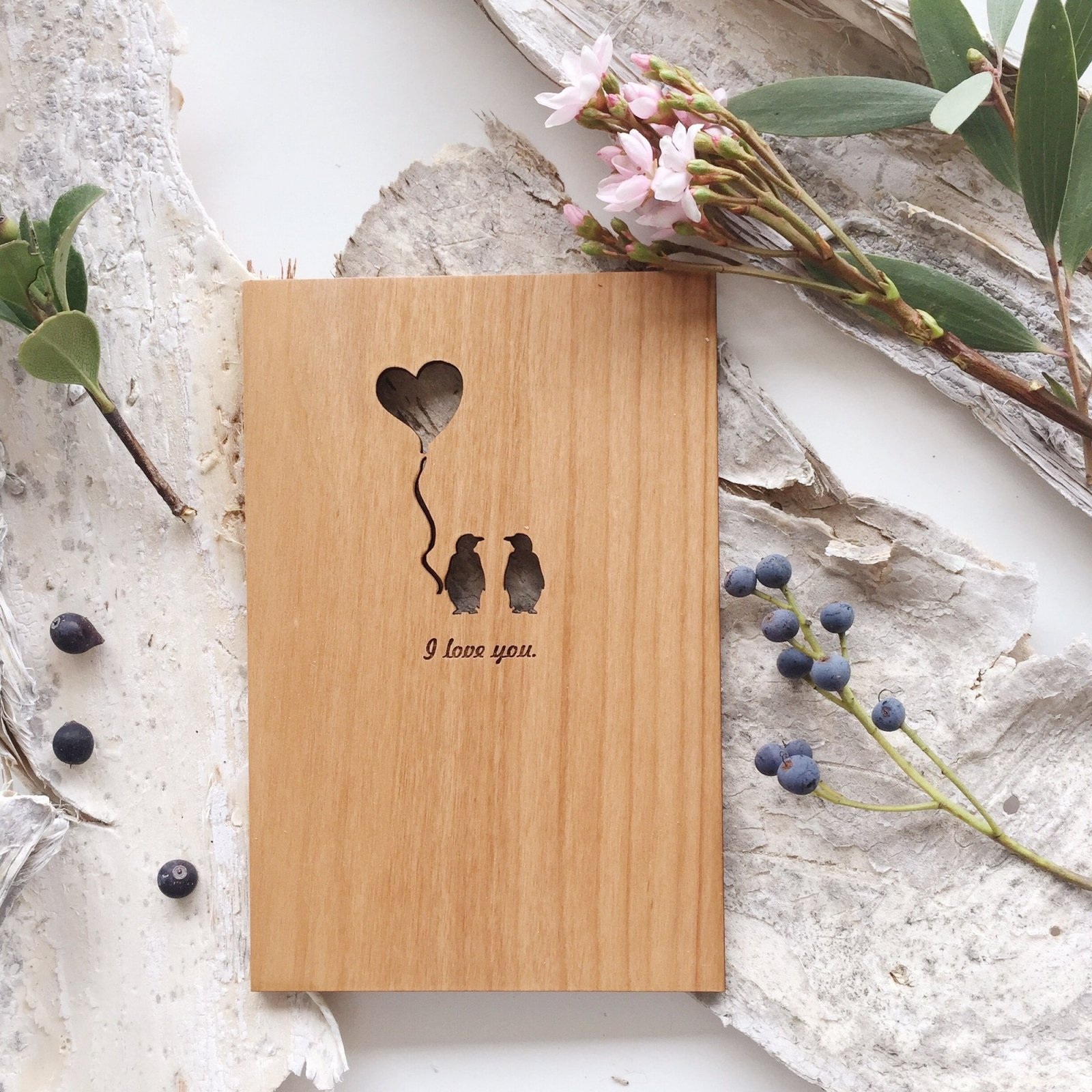 Penguin Love Wooden Postcard