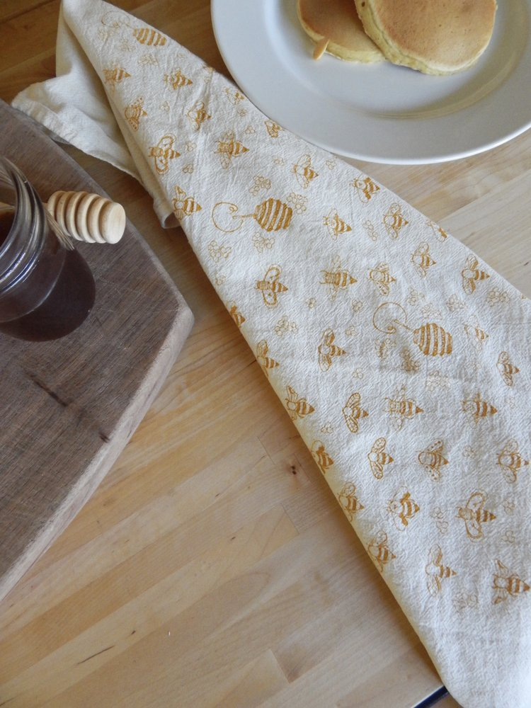 Gold Bees Kitchen Towel
