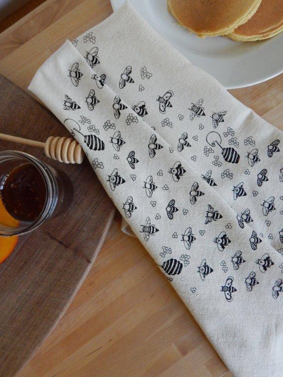 Black Bees Kitchen Towel