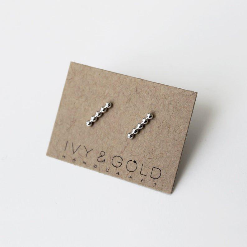 Mini Beaded Bar Post Earring