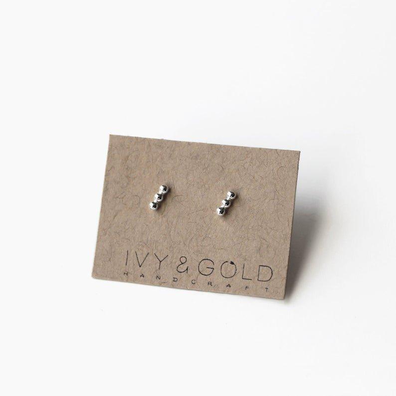 3 Bead Bar Earrings in Sterling Silver