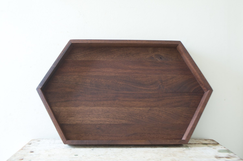 Long Wooden Hexagon Tray