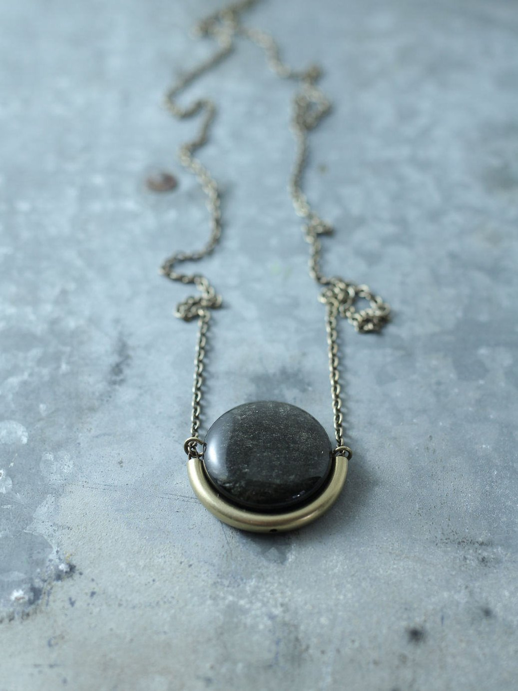 Demi Golden Black Obsidian 32 Necklace