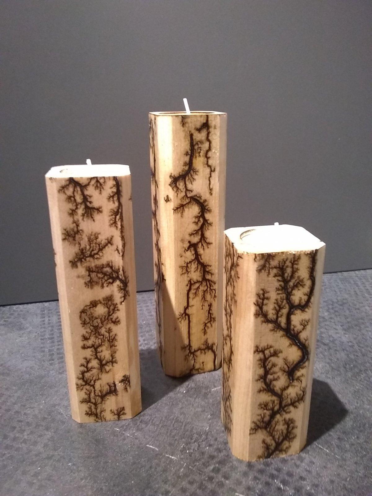 Oak Fractal Burn Candle Holder Set