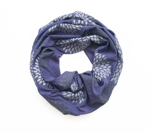Gray/Iris Flowers Mini Infinity Scarf