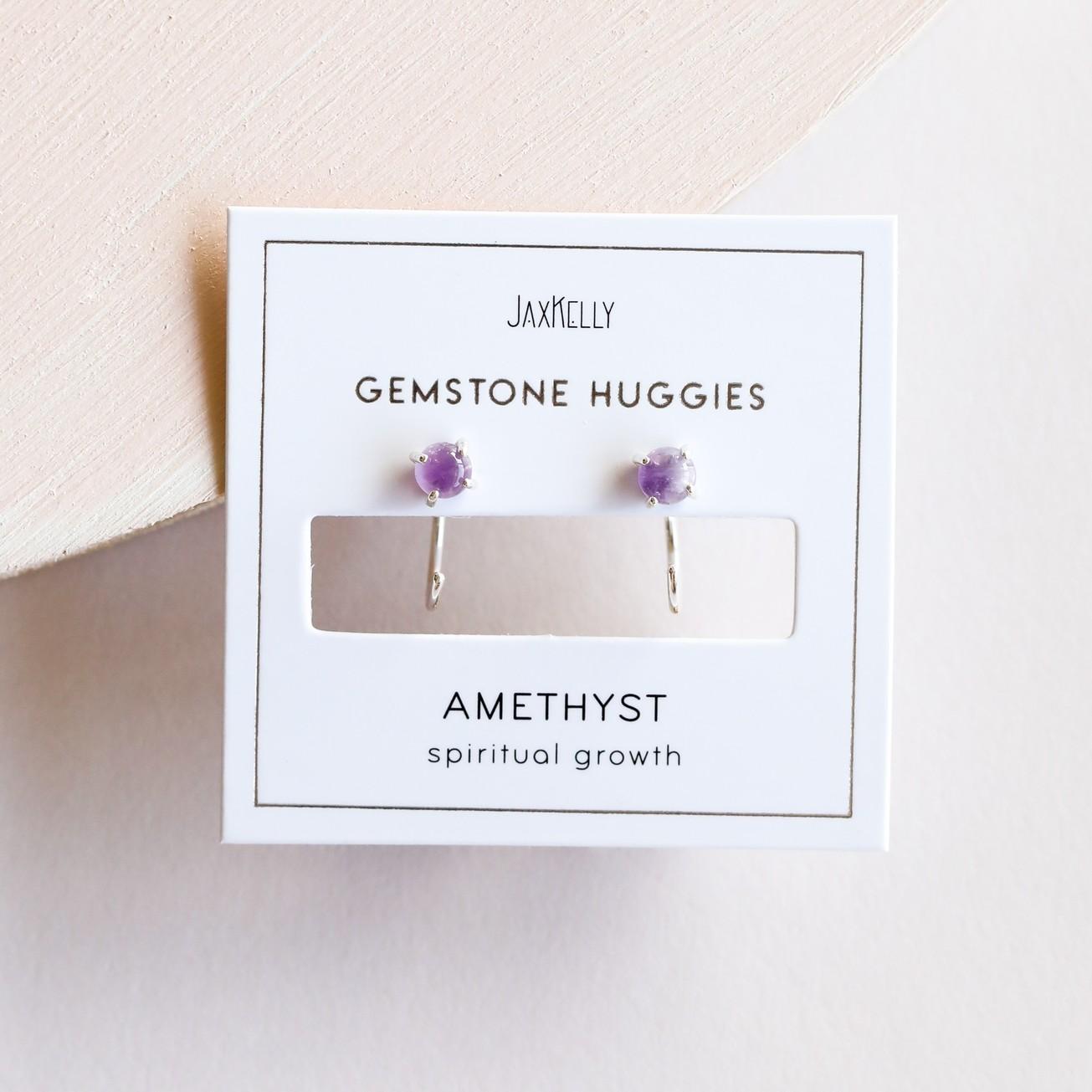 Amethyst Silver Huggie Earrings