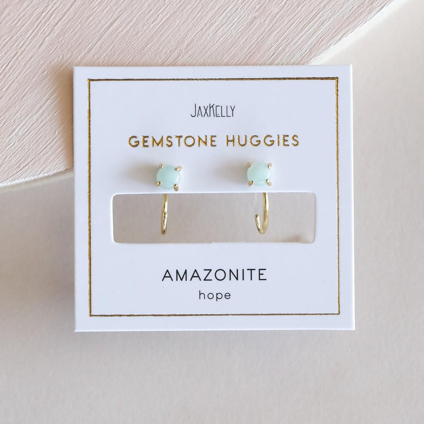 Amazonite 18k GP Huggie Earrings