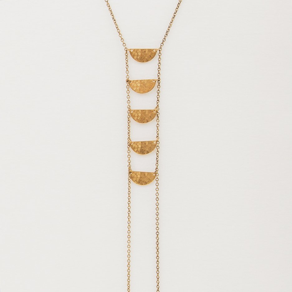 Half Moon Lariat Bronze Necklace