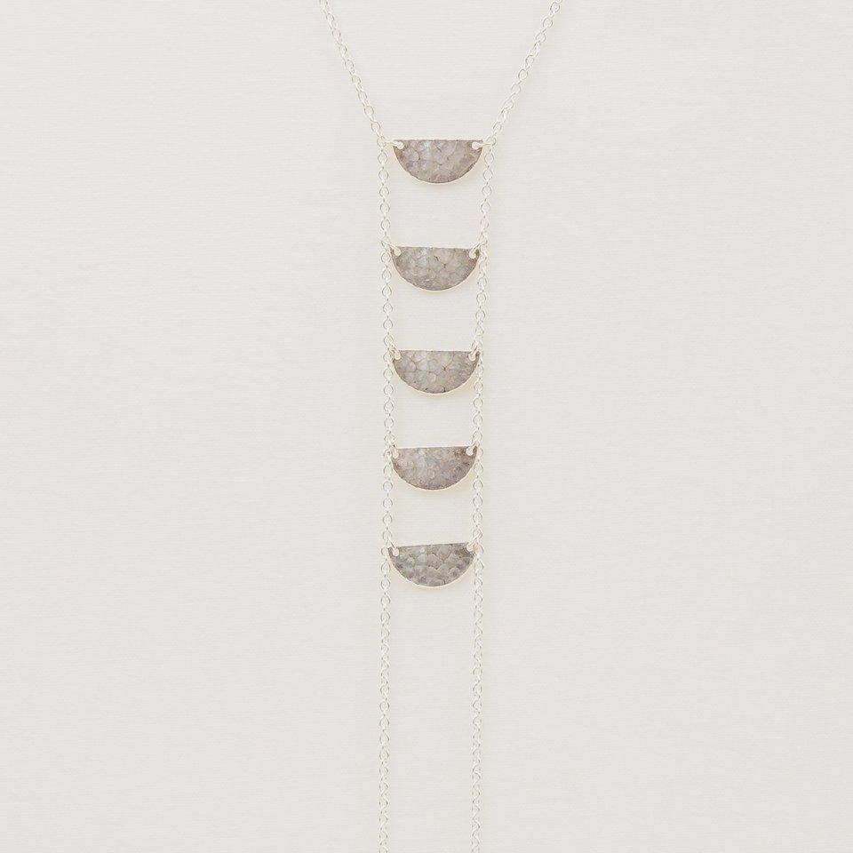 Half Moon Lariat Silver Necklace