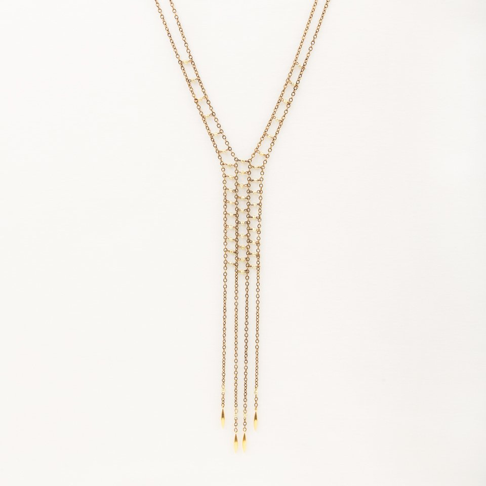 Faceted Metal Fringe Necklace