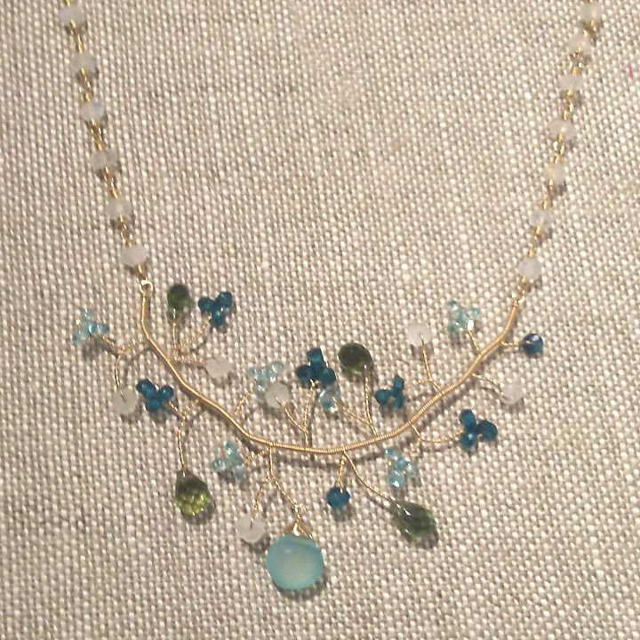 Moonstone Apatite & Peridot 14k Branch Necklace