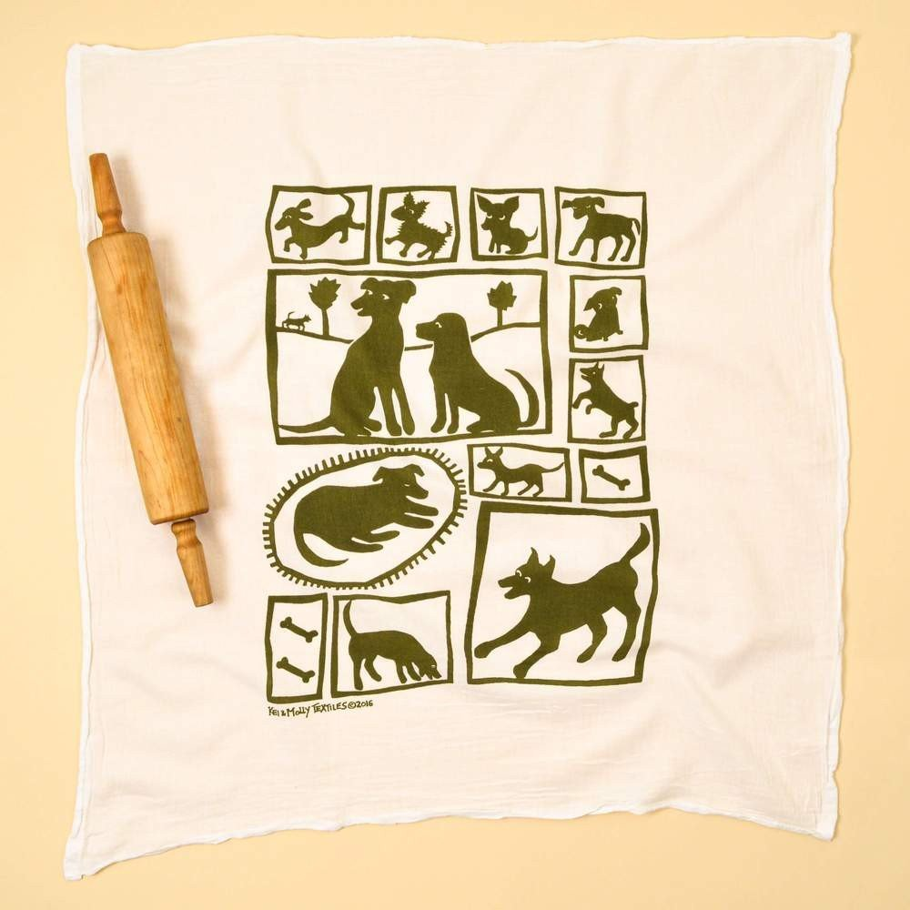 Olive Dogs Kitchen Towel