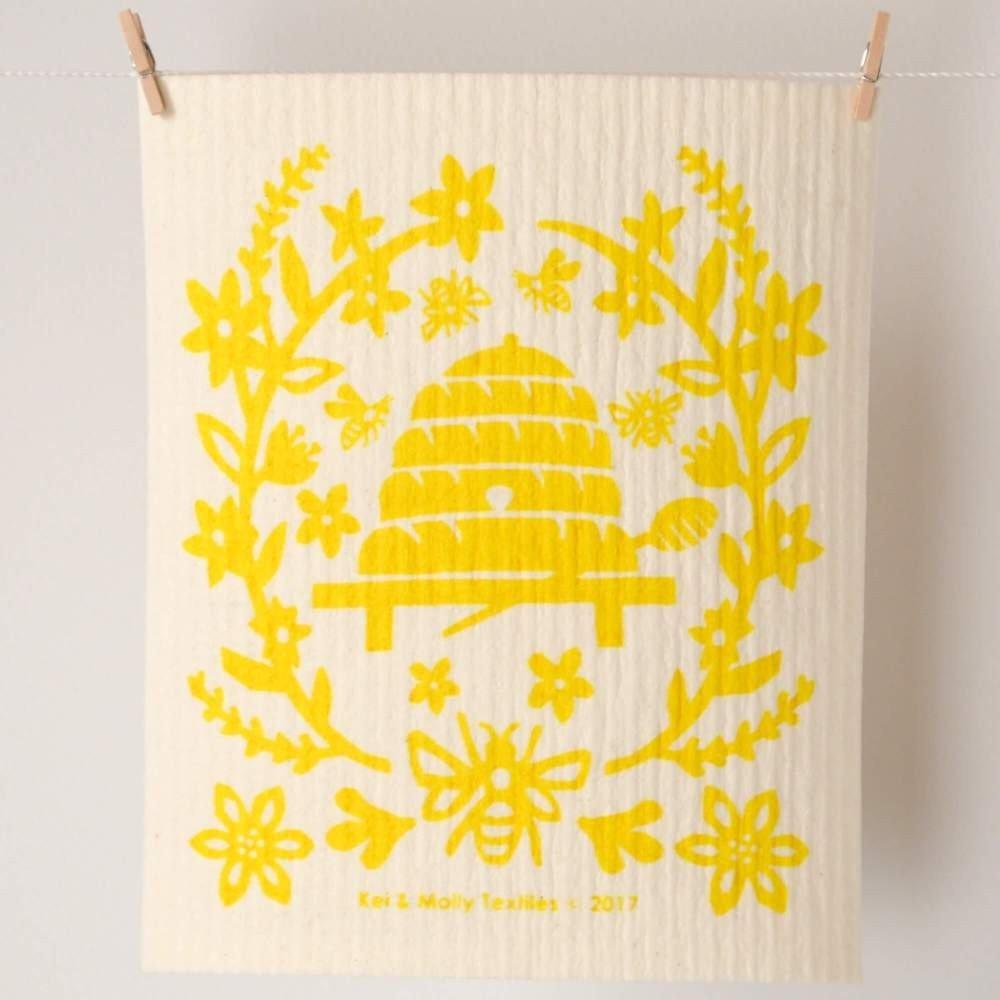 Yellow Bees Sponge Cloth