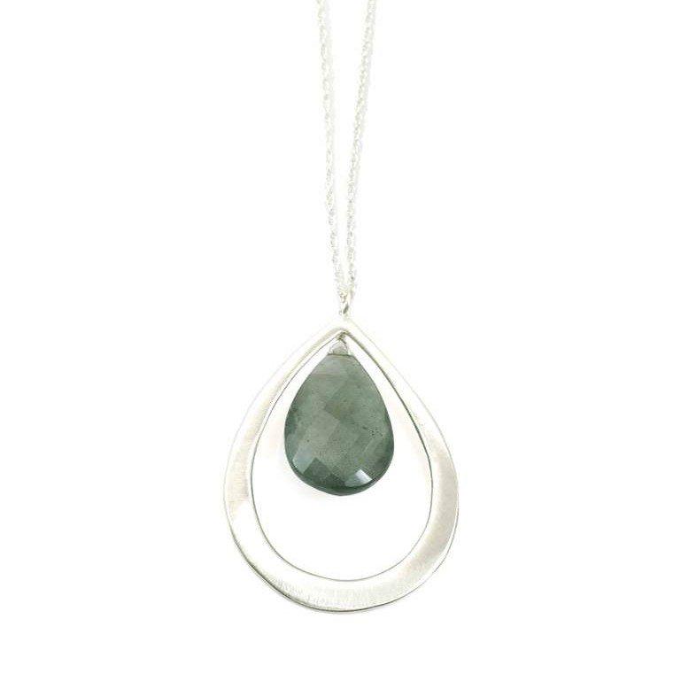 Large Moss Aqua Silver Necklace