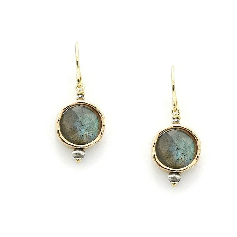 Labradorite 14kGF Circle Earrings