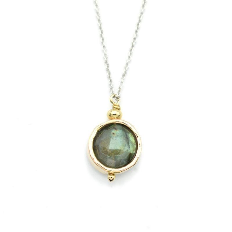 Labradorite 14kGF Circle Necklace