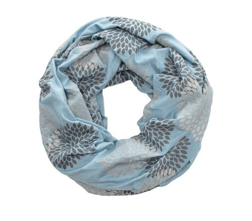 Gray/Cornflower Flowers Infinity Scarf