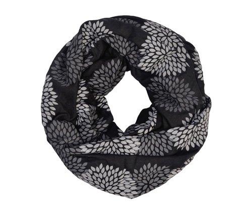 Gray/Black Flowers Infinity Scarf