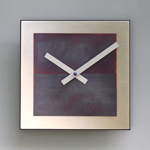 Square Steel & Blue Copper Wall Clock
