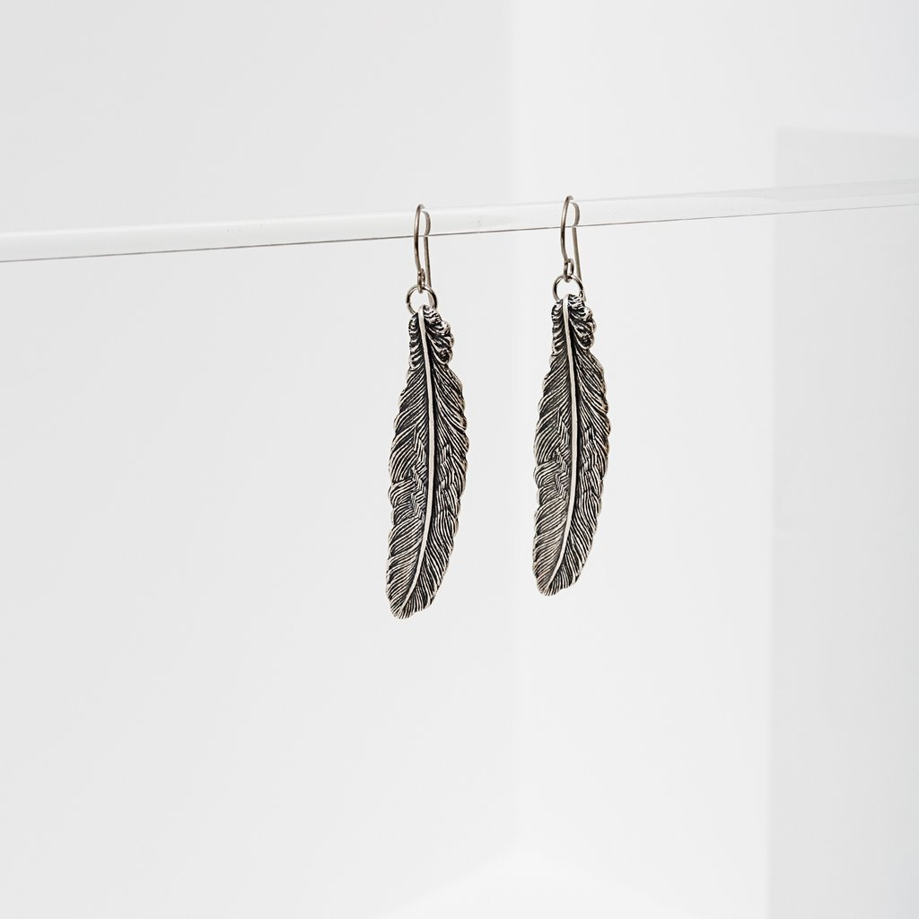In Fine Feather Silver Earrings