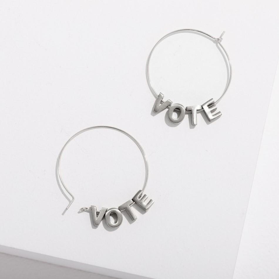 VOTE Silver Earrings