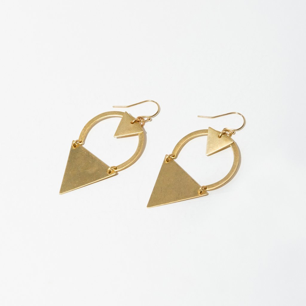 Dart Brass Earrings