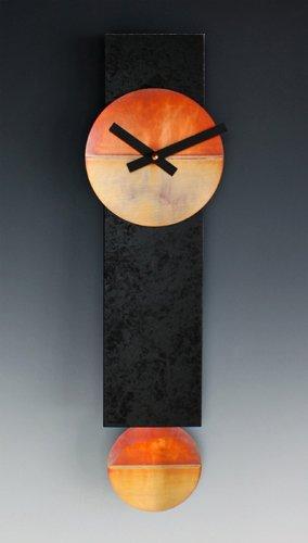 Narrow Pendulum Clock in Black & Copper