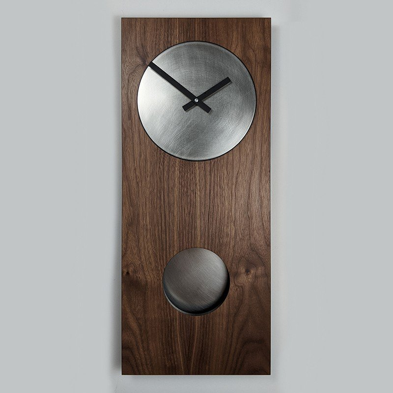 Walnut & Steel Pendulum Wall Clock