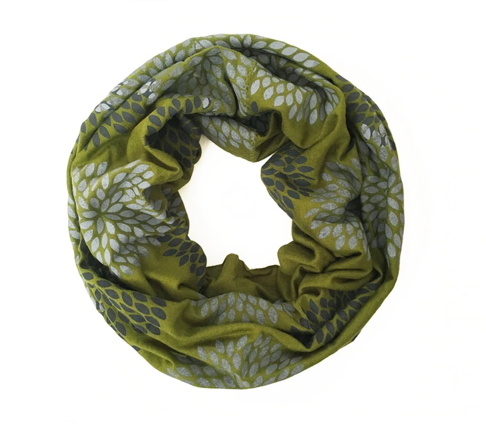 Flowers on Olive Mini Infinity Scarf