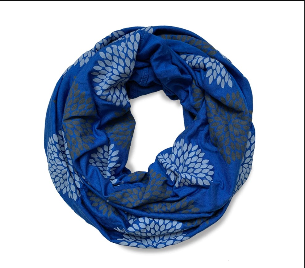 Flowers on Royal Blue Infinity Scarf