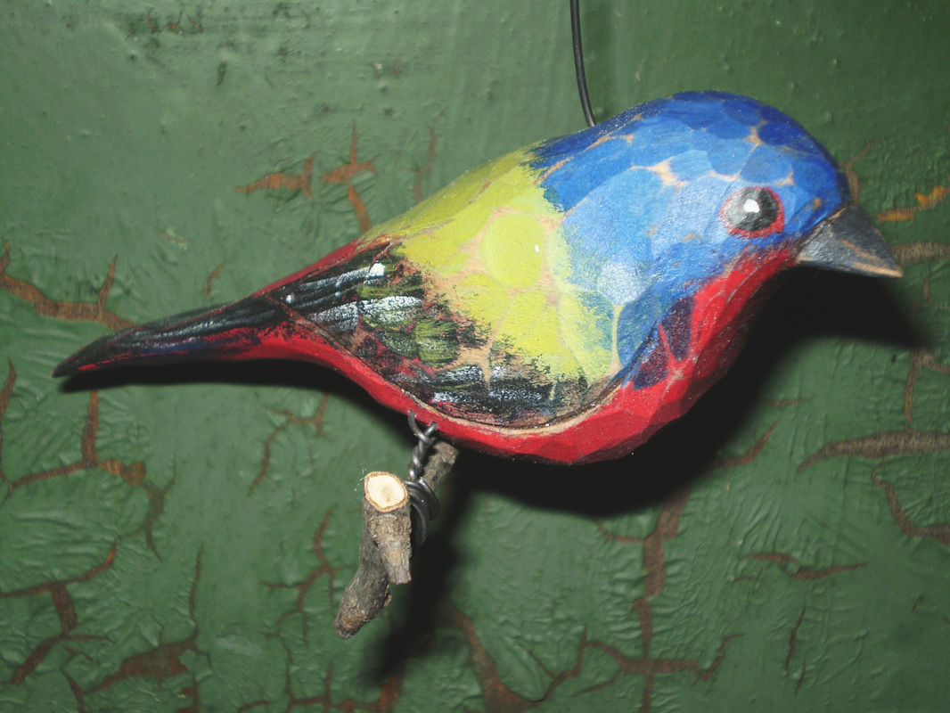 Painted Bunting Folk Art Carving