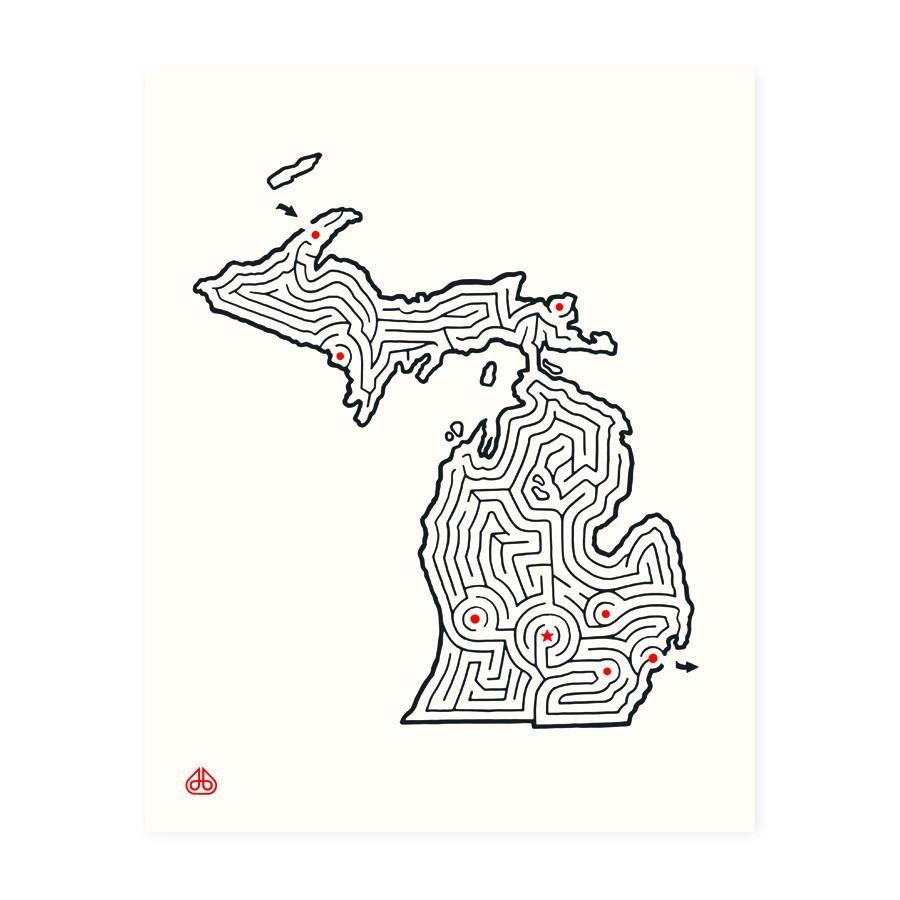 Michigan Maze 8x10 Print