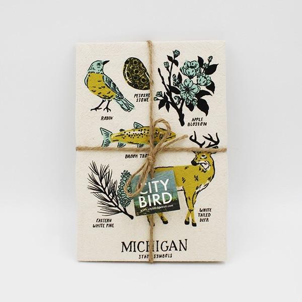 Michigan Symbols Tea Towel