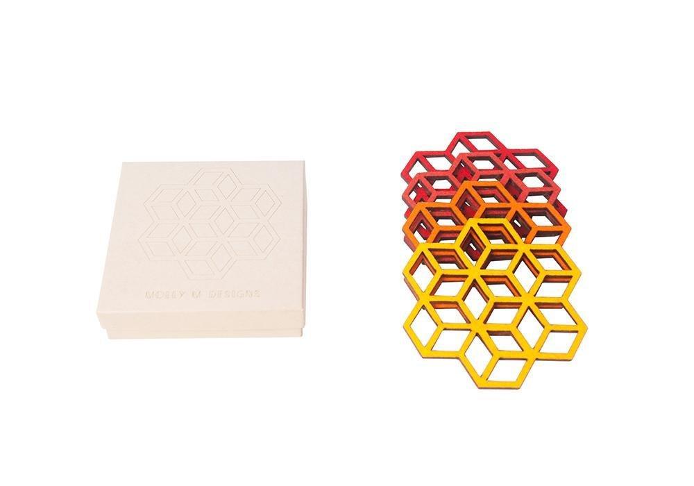 Cubes Felt Coaster Set/4