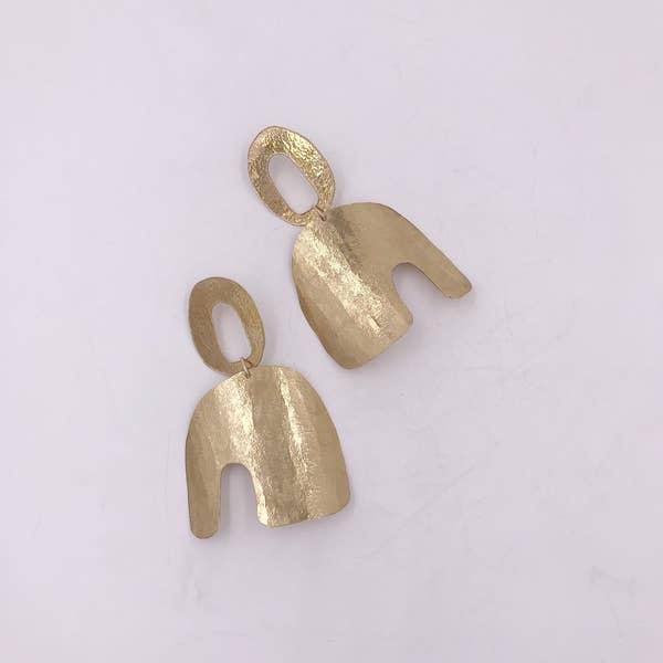 Night Owl Earrings in Brass