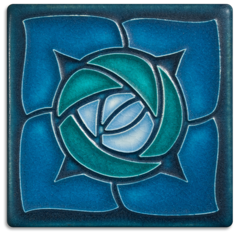 Rosie O'Grady 4x4 Tile in Turquoise