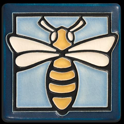 Bee 4x4 Tile in Light Blue