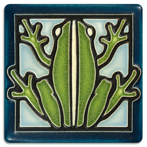 Frog On Light Blue 4x4 Tile